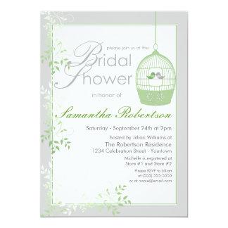 Love Birds Green Bridal Shower Invitations