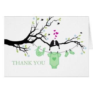 Love Birds | Green Thank You Card