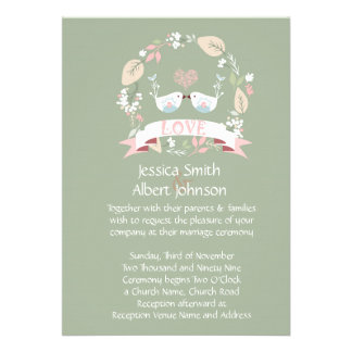 Love Birds Green Wedding Invite