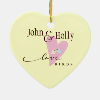 Love Birds & Heart Ceramic Ornament