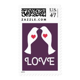 LOVE BIRDS Heart Purple Wedding Postage