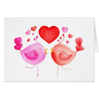 Love birds heart red pink Valentines art card
