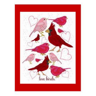 Love Birds Hearts Happy Valentine's Day Postcard