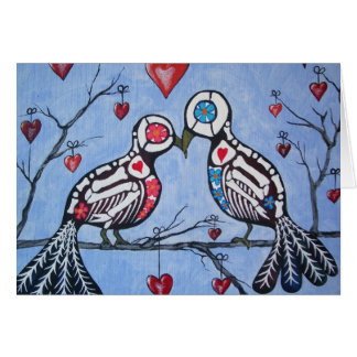 Love Birds in a Heart Tree Day of the Dead Card