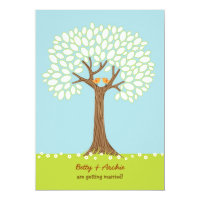 Love Birds in a Tree (Day) Wedding Invitation