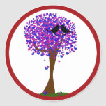 Love Birds in a Tree of Hearts - Winter Love Round Stickers