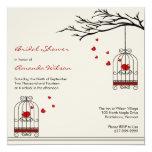 Love Birds in Birdcages Bridal Shower Invitations