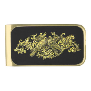 Love Birds in Gold and Black Gold Finish Money Clip