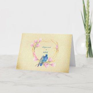 Love Birds In Heart Valentine's Day Card
