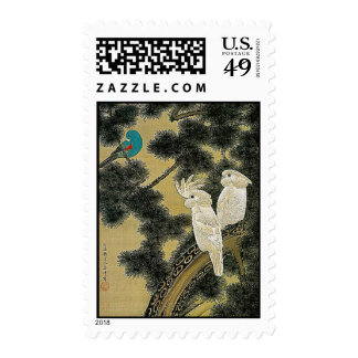 Love Birds in Pine Tree Vintage Japanese Painting Postage