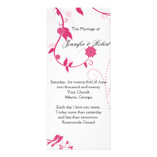 Love Birds in Pink and White Wedding Program Rack Cards
