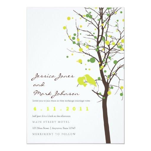 Love Birds in Polka Dot Tree Custom Invites
