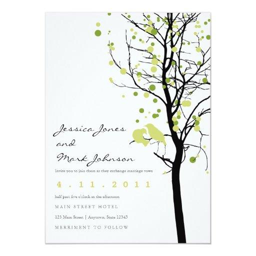 Love Birds in Polka Dot Tree 5x7 Paper Invitation Card