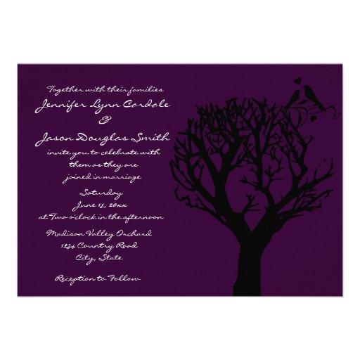 "Love Birds in Tree Purple Wedding Invitations 5"" X 7 ..."