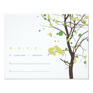 Love Birds in Tree RSVP - Green and Brown Card