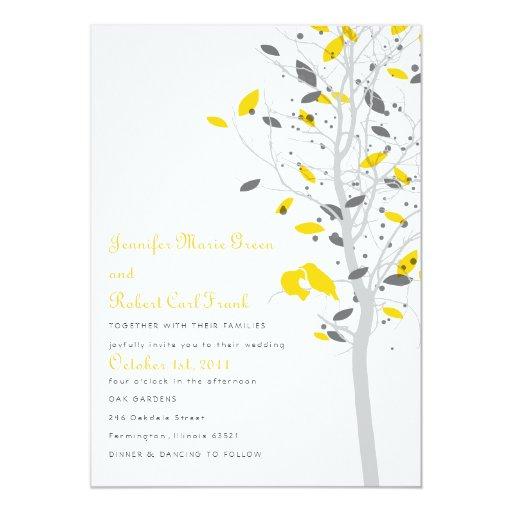 "Love Birds in Tree - Yellow & Gray 5"" X 7"" Invitation Card"