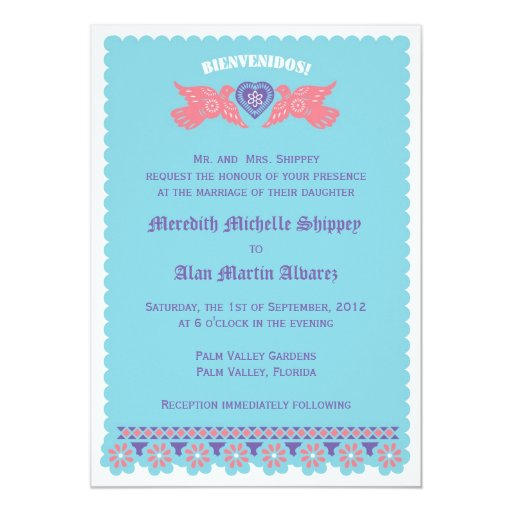 Love Birds Invitation - Turquoise and Coral