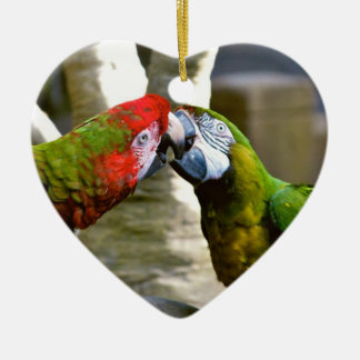 Love Birds Kissing Macaw Parrots Ornament