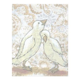 Love birds letterhead perfect couple romantic art
