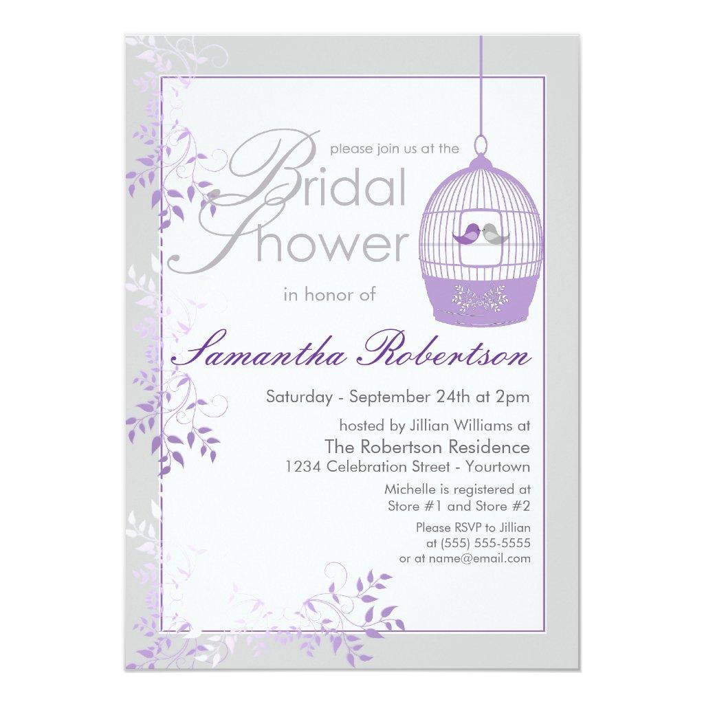 Love Birds Lilac Bridal Shower Invitations