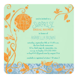 Love Birds Mint Green Surprise Bridal Shower Card