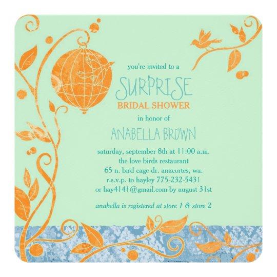 love birds mint green surprise bridal shower invitation