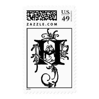 Love Birds Monogram 'H' - Stamp