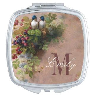 Love Birds Monogram Personalized Compact Vanity Mirrors