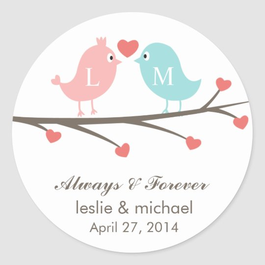 Love Birds Monogram Wedding Favor Stickers   Zazzle.com