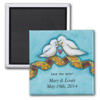 Love birds movie lover film buff romantic painting 2 inch square magnet