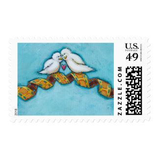 Love birds movie lover film buff romantic painting postage stamp