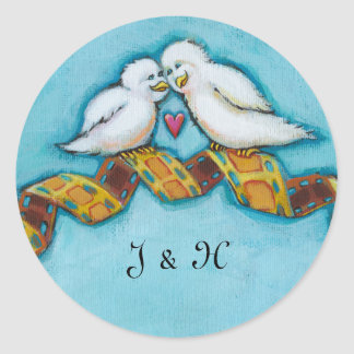 Love birds movie lover film buff romantic painting round sticker