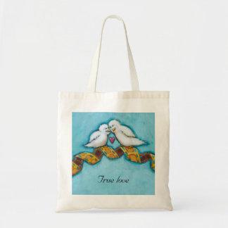 Love birds movie lover film buff romantic painting tote bag