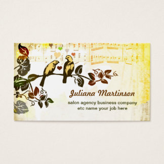 love birds music notes vintage business card