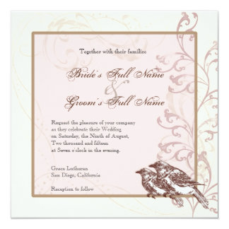Love Birds 'n Lace - Rose Wedding Invitation