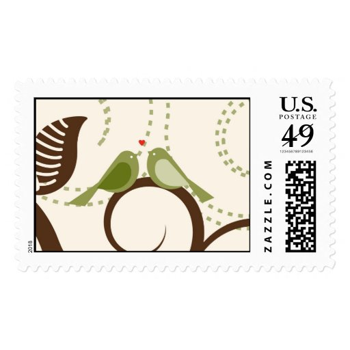 Love Birds on a Curly branch Postage Stamp
