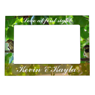 Love birds on a tree branch magnetic picture frame
