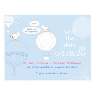 Love Birds on Air Balloons Save the Date Postcard