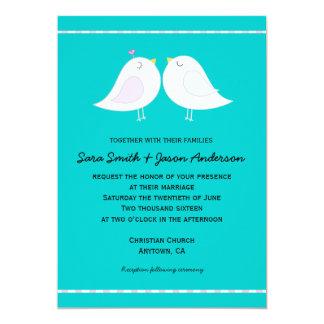 "Love Birds on Aqua Background Wedding Invitation 5"" X 7"" Invitation Card"