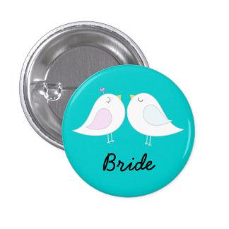 Love Birds on Aqua Bride Button