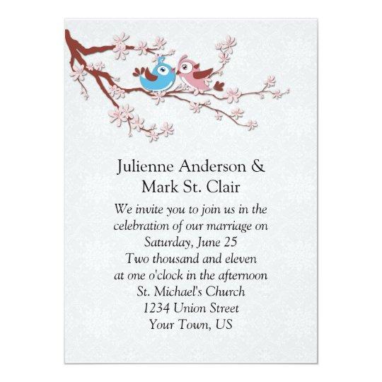 Love Birds on Cherry Blossoms Wedding Invitation