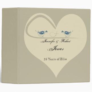 Love Birds on Ecru Heart Anniversary Binder