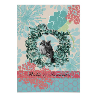 Love Birds on Floral Wreath 5x7 Wedding Invitation