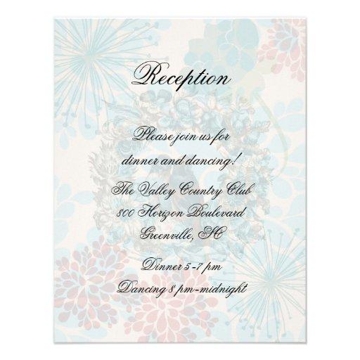Love Birds on Floral Wreath Reception Card Custom Announcements