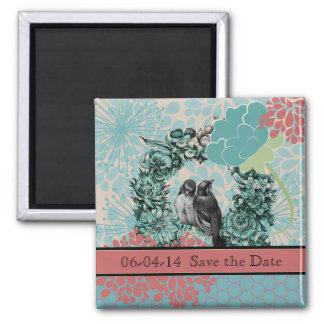 Love Birds on Floral Wreath Save the Date Magnet