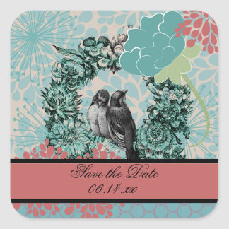 Love Birds on Floral Wreath Save the Date Stickers