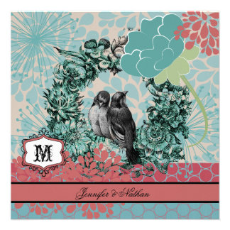 Love Birds on Floral Wreath Wedding Invitation