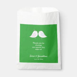 Love Birds on Green Wedding Thank You Favor Bag