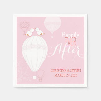Love Birds on Hot Air Balloons Pink Wedding Paper Napkin