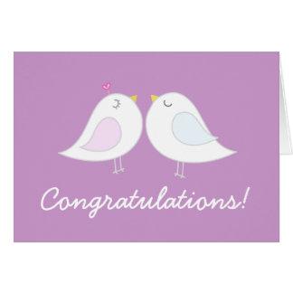 Love Birds on Light Purple Wedding Congratulations Card
